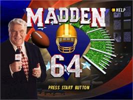 Title screen of Madden Football 64 on the Nintendo N64.