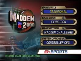 Title screen of Madden NFL 2000 on the Nintendo N64.