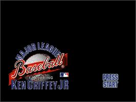 Title screen of Major League Baseball Featuring Ken Griffey Jr on the Nintendo N64.