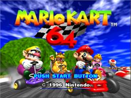 Title screen of Mario Kart 64 on the Nintendo N64.