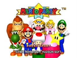 Title screen of Mario Party on the Nintendo N64.