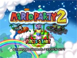 Title screen of Mario Party 2 on the Nintendo N64.