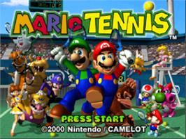 Title screen of Mario Tennis on the Nintendo N64.