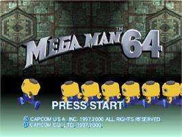 Title screen of Mega Man 64 on the Nintendo N64.