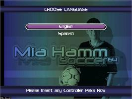 Title screen of Mia Hamm Soccer 64 on the Nintendo N64.