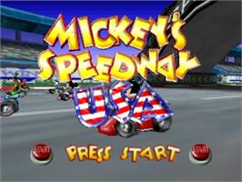 Title screen of Mickey's Speedway USA on the Nintendo N64.