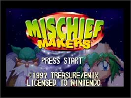 Title screen of Mischief Makers on the Nintendo N64.