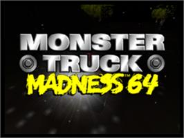 Title screen of Monster Truck Madness 64 on the Nintendo N64.