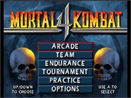 Title screen of Mortal Kombat 4 on the Nintendo N64.