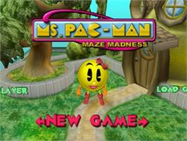 Title screen of Ms. Pac-Man Maze Madness on the Nintendo N64.