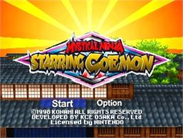 Title screen of Mystical Ninja Starring Goemon on the Nintendo N64.