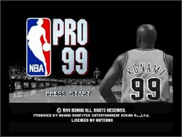 Title screen of NBA Pro 99 on the Nintendo N64.