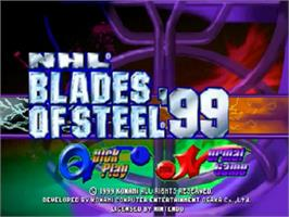 Title screen of NHL Blades of Steel '99 on the Nintendo N64.