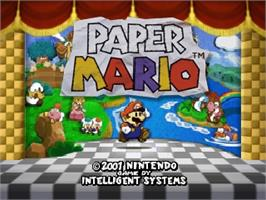 Title screen of Paper Mario on the Nintendo N64.