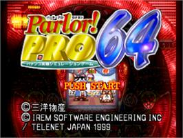 Title screen of Parlor! Pro 64: Pachinko Jikki Simulation on the Nintendo N64.
