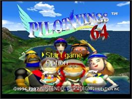 Title screen of Pilotwings 64 on the Nintendo N64.