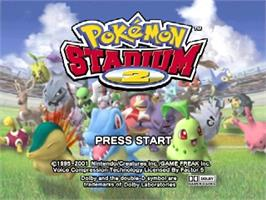 Title screen of Pokemon Stadium 2 on the Nintendo N64.