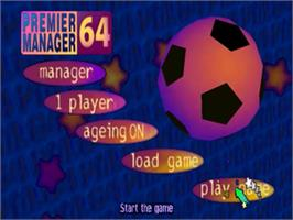 Title screen of Premier Manager 64 on the Nintendo N64.