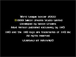 Title screen of RTL World League Soccer 2000 on the Nintendo N64.