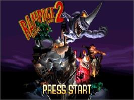 Title screen of Rampage: Universal Tour on the Nintendo N64.