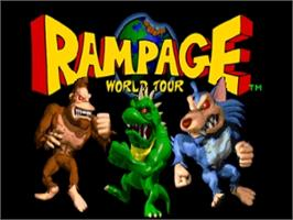 Title screen of Rampage: World Tour on the Nintendo N64.