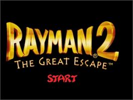 Title screen of Rayman 2: The Great Escape on the Nintendo N64.