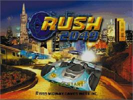 Title screen of San Francisco Rush 2049 on the Nintendo N64.