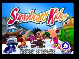 Title screen of Snowboard Kids on the Nintendo N64.