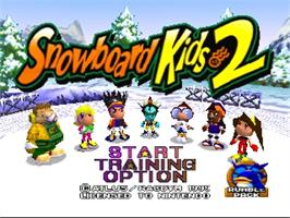 Title screen of Snowboard Kids 2 on the Nintendo N64.