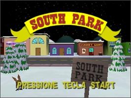 Title screen of South Park: Chef's Luv Shack on the Nintendo N64.