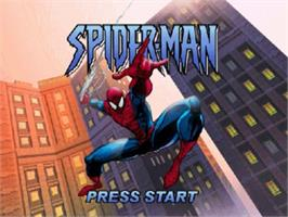 Title screen of Spider-Man on the Nintendo N64.