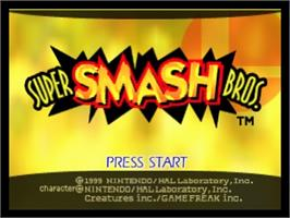 Title screen of Super Smash Bros. on the Nintendo N64.