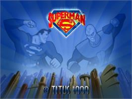 Title screen of Superman on the Nintendo N64.