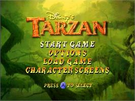 Title screen of Tarzan on the Nintendo N64.