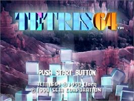 Title screen of Tetris 64 on the Nintendo N64.