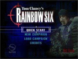 Title screen of Tom Clancy's Rainbow Six on the Nintendo N64.