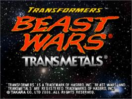 Title screen of Transformers: Beast Wars Transmetals on the Nintendo N64.