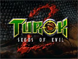 Title screen of Turok 2: Seeds of Evil on the Nintendo N64.