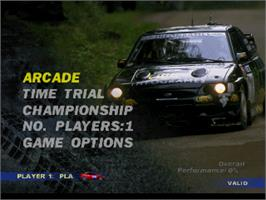 Title screen of V-Rally Edition 99 on the Nintendo N64.