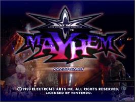 Title screen of WCW Mayhem on the Nintendo N64.