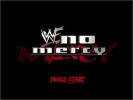 Title screen of WWF No Mercy on the Nintendo N64.