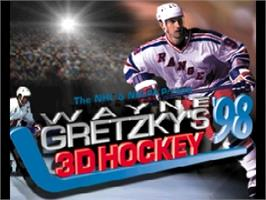 Title screen of Wayne Gretzky's 3D Hockey '98 on the Nintendo N64.