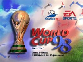 Title screen of World Cup 98 on the Nintendo N64.