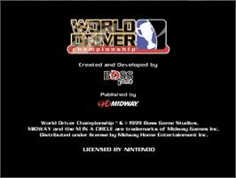 Title screen of World Driver Championship on the Nintendo N64.