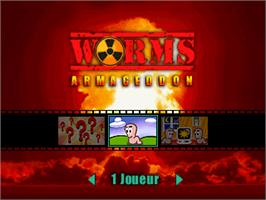 Title screen of Worms Armageddon on the Nintendo N64.