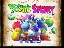 Title screen of Yoshi's Story on the Nintendo N64.