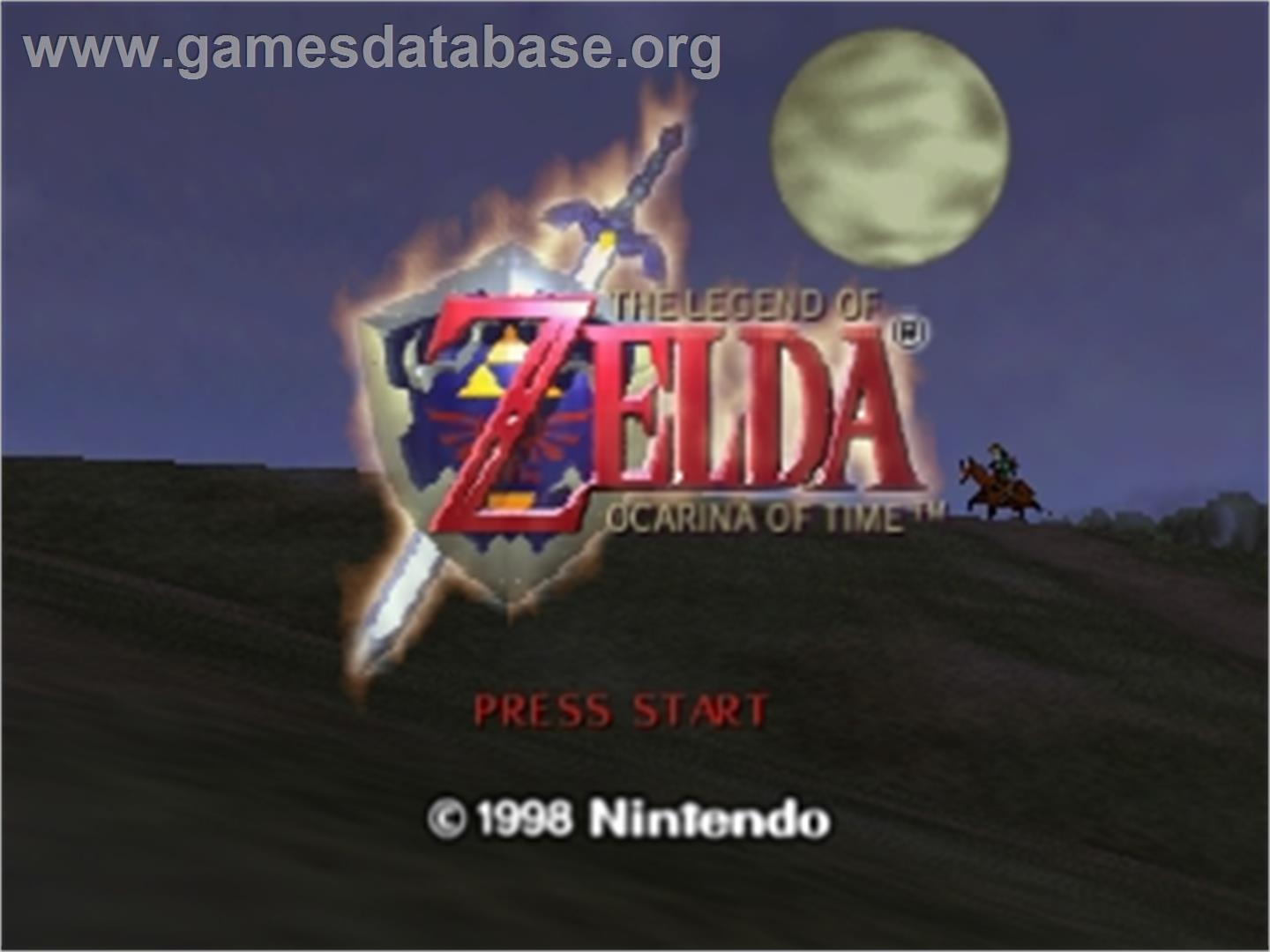 Title screen of Legend of Zelda: Ocarina of Time on the Nintendo N64.