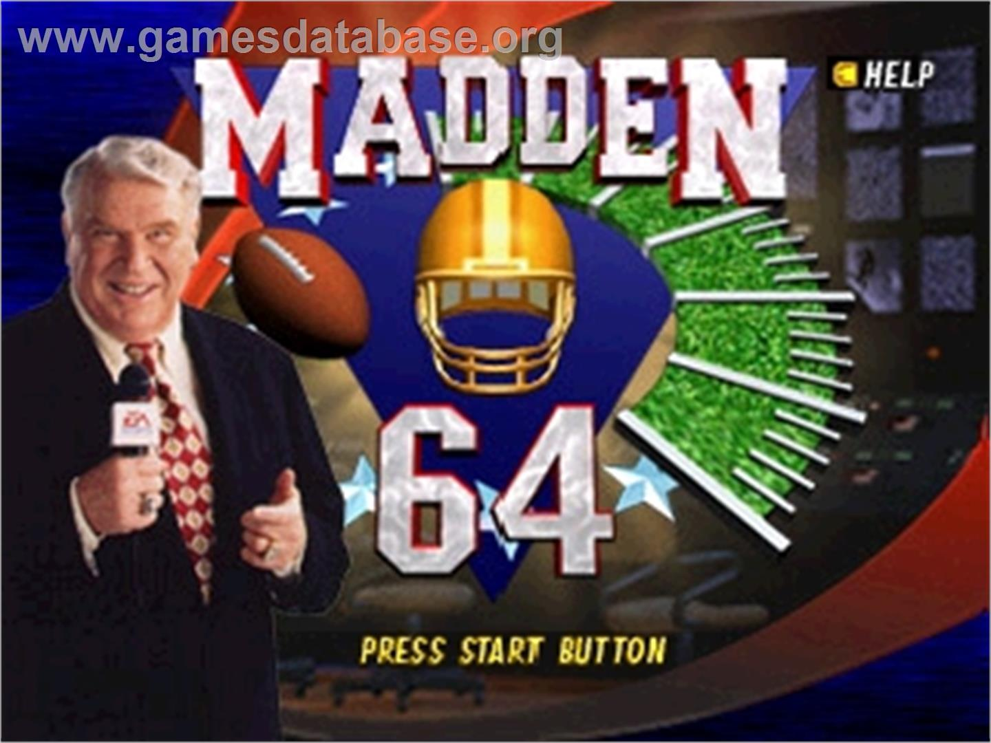 Madden Football 64 - Nintendo N64 - Artwork - Title Screen