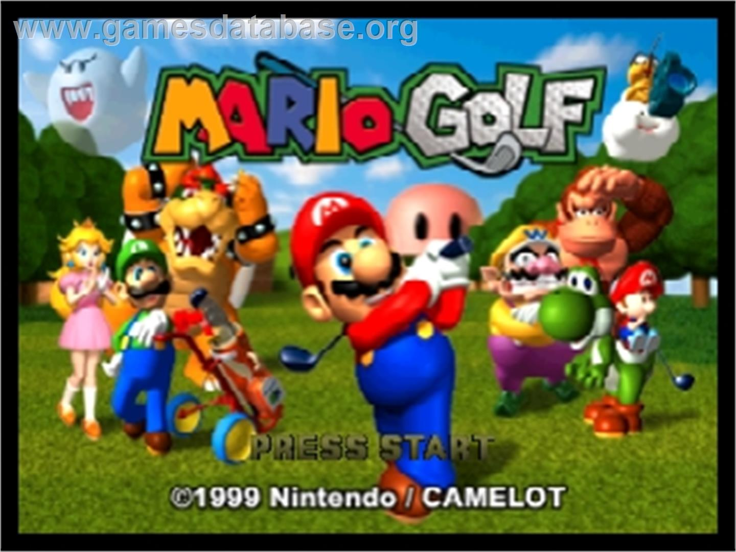 Title screen of Mario Golf on the Nintendo N64.