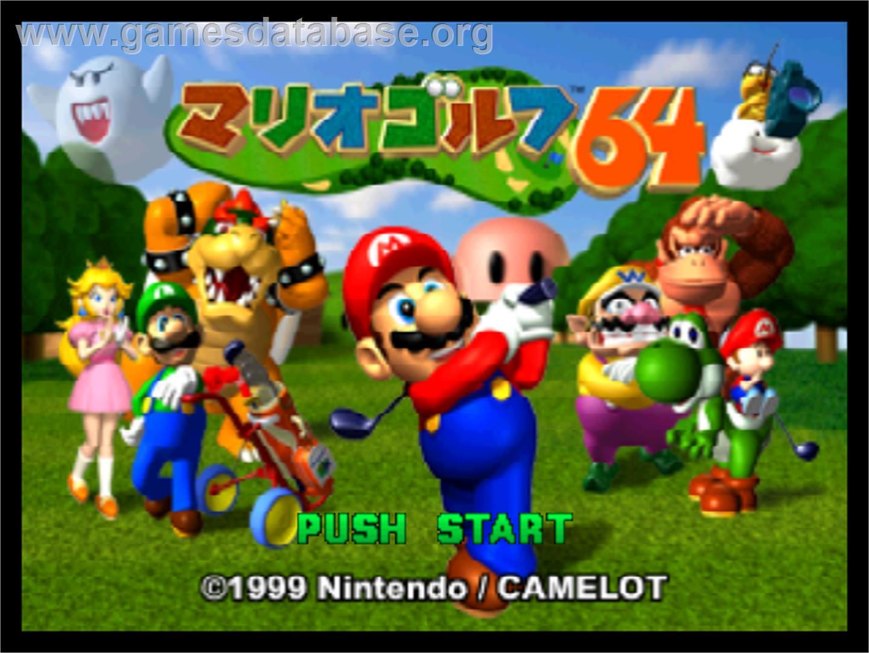 Title screen of Mario Golf on the Nintendo N64.